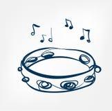 Linea strumento di schizzo del tamburino di musica di progettazione di vettore illustrazione di stock