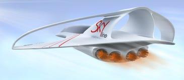 Linea supersonica orizzonte del Business class degli aerei di concetto di progetto illustrazione 3D Immagine Stock