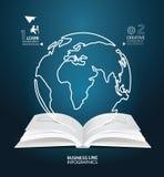 Linea taglio creativo del mondo di Infographic della carta del diagramma del tascabile Immagini Stock Libere da Diritti
