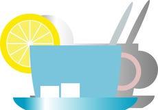 Linea tazza dell'icona di tè con limon Acquerello di vettore Cucina Immagine Stock