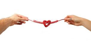 Linea telefonica a forma di del cuore Fotografia Stock Libera da Diritti