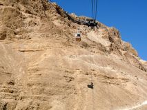 Linea tranviaria aerea a Masada Immagine Stock