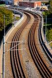 Linea tranviaria alla luce di pomeriggio Fotografia Stock