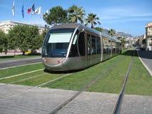 Linea tranviaria in città di Nizza Fotografie Stock Libere da Diritti
