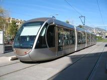 Linea tranviaria in città di Nizza Fotografia Stock