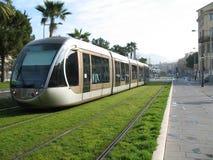 Linea tranviaria in città di Nizza Fotografia Stock Libera da Diritti