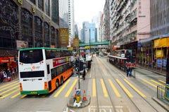 Linea tranviaria dell'autobus a due piani Fotografia Stock