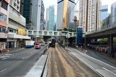 Linea tranviaria dell'autobus a due piani Immagini Stock Libere da Diritti