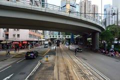 Linea tranviaria dell'autobus a due piani Fotografia Stock Libera da Diritti