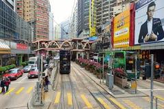Linea tranviaria dell'autobus a due piani Fotografie Stock Libere da Diritti