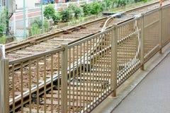 Linea tranviaria di un tram fotografie stock libere da diritti