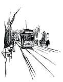 Linea tranviaria a Lisbona Fotografie Stock