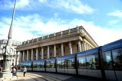 Linea tranviaria nella città del Bordeaux FRANCIA Immagine Stock Libera da Diritti