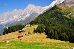 Linea tranviaria turistica in alpi francesi Immagine Stock