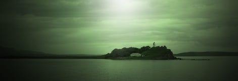 Linea triste faro di vista sul mare dell'insegna del mare di orizzonte immagini stock