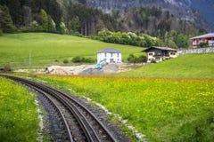 Linea turistica del treno di Zillertal di Austria Fotografie Stock