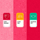 Linea Valentine Patterns Set Fotografie Stock