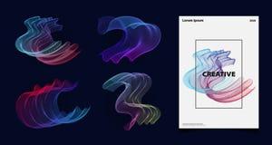 Linea variopinta di mescolamento astratta insieme di tecnologia di vettore della copertura del materiale illustrativo Vettore eps illustrazione vettoriale