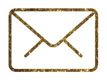 Linea variopinta ico della busta del email dell'interfaccia di vettore dorato di scintillio Fotografia Stock Libera da Diritti