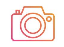 Linea variopinta isolata icona della macchina fotografica di vettore di pendenza Fotografia Stock Libera da Diritti