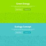 Linea verde Art Web Banners Set di energia di ecologia Immagini Stock Libere da Diritti