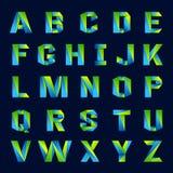 Linea verde variopinto di alfabeto inglese di divertimento delle lettere Fotografia Stock Libera da Diritti
