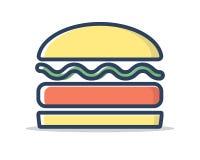 Linea vettore riempito dell'hamburger dell'illustrazione dell'icona Illustrazione Vettoriale