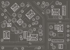 Lineair architecturaal schets algemeen plan van dorp op grijze achtergrond Stock Afbeelding