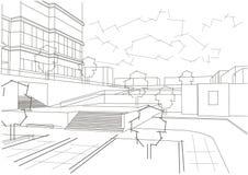 Lineair architecturaal schets woonkwart Stock Foto's