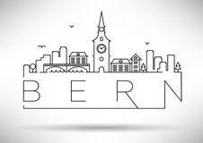 Lineair Bern City Silhouette met Typografisch Ontwerp Royalty-vrije Stock Afbeeldingen