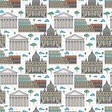 Lineair beroemd de gebouwen naadloos patroon van Rome vector illustratie