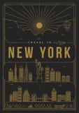 Lineair de Afficheontwerp van Reisnew york Royalty-vrije Stock Foto's