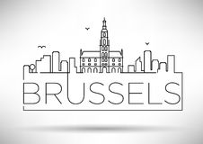 Lineair de Stadssilhouet van Brussel met Typografisch Ontwerp Royalty-vrije Stock Foto