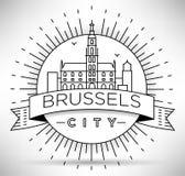 Lineair de Stadssilhouet van Brussel met Typografisch Ontwerp Stock Fotografie