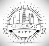 Lineair de Stadssilhouet van Chicago met Typografisch Ontwerp Stock Afbeelding