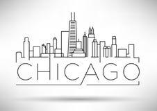 Lineair de Stadssilhouet van Chicago met Typografisch Ontwerp Royalty-vrije Stock Foto's