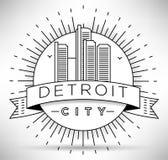 Lineair de Stadssilhouet van Detroit met Typografisch Ontwerp Stock Foto's