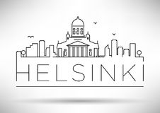 Lineair de Stadssilhouet van Helsinki met Typografisch Ontwerp Royalty-vrije Stock Foto