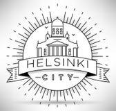 Lineair de Stadssilhouet van Helsinki met Typografisch Ontwerp Stock Fotografie