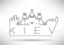 Lineair de Stadssilhouet van Kiev met Typografisch Ontwerp Royalty-vrije Stock Afbeeldingen