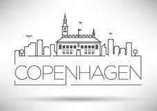 Lineair de Stadssilhouet van Kopenhagen met Typografisch Ontwerp Royalty-vrije Stock Foto's