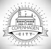 Lineair de Stadssilhouet van Kopenhagen met Typografisch Ontwerp Stock Afbeeldingen