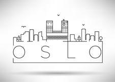 Lineair de Stadssilhouet van Oslo met Typografisch Ontwerp Stock Afbeeldingen
