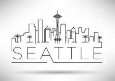 Lineair de Stadssilhouet van Seattle met Typografisch Ontwerp Royalty-vrije Stock Fotografie