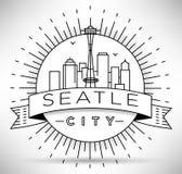 Lineair de Stadssilhouet van Seattle met Typografisch Ontwerp Royalty-vrije Stock Afbeelding