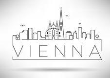 Lineair de Stadssilhouet van Wenen met Typografisch Ontwerp Royalty-vrije Stock Fotografie