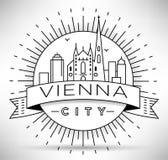 Lineair de Stadssilhouet van Wenen met Typografisch Ontwerp Stock Fotografie
