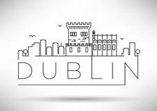 Lineair Dublin City Silhouette met Typografisch Ontwerp Royalty-vrije Stock Foto