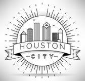 Lineair Houston City Silhouette met Typografisch Ontwerp Royalty-vrije Stock Fotografie