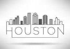 Lineair Houston City Silhouette met Typografisch Ontwerp Royalty-vrije Stock Foto